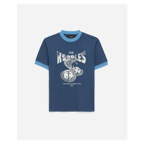 The Kooples - Blue cotton T-shirt with white snake motif - WOMEN