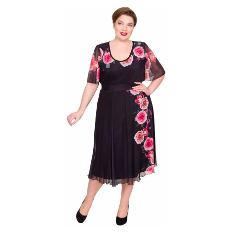 Valentine Rose Print A-line Skirt - Black/Red/Pink Scarlett & Jo