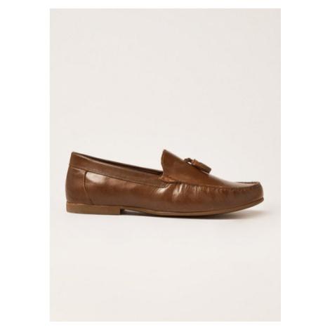 Mens Brown Tan Leather 'Blast' Tassel Loafers, Brown Topman