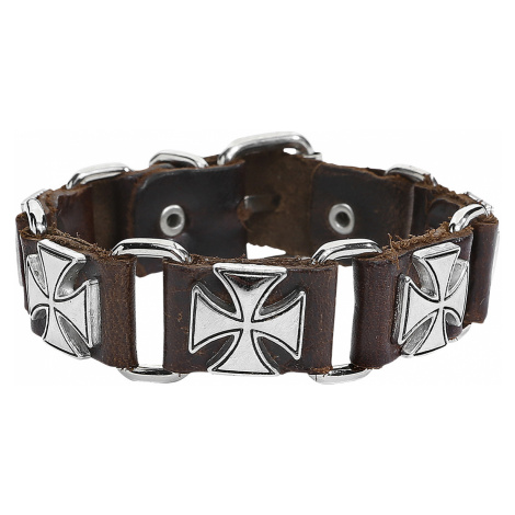 Brown Iron Crosses - - Leather bracelet - Standard