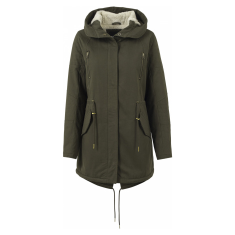 Urban Classics - Ladies Sherpa Lined Cotton Parka - Girls winter jacket - olive