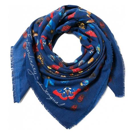 shawl Desigual 17WAWFG9/Rectangle Winter Floral Big - 5001/Marino