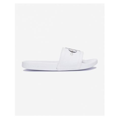 Calvin Klein Slide Monogram Slippers White