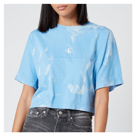 Calvin Klein Jeans Women's Lava Dye Cropped T-Shirt - Powdery Blue