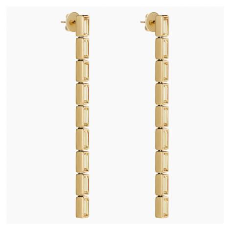 Fluid Detachable Earrings, Brown, Gold-tone plated Swarovski