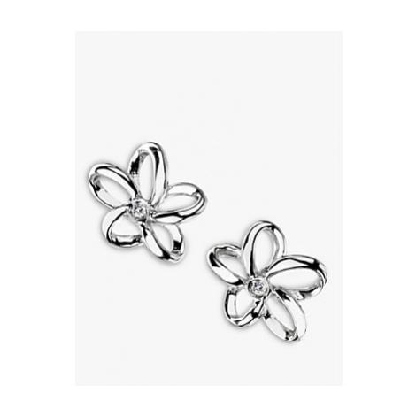 Hot Diamonds Paradise Plumeria Floral Diamond Stud Earrings, Silver