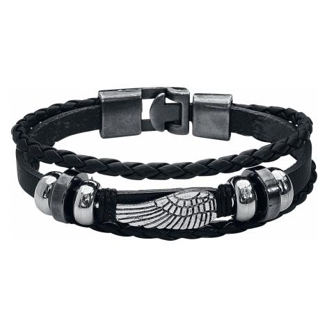 Wing - - Leather bracelet - black