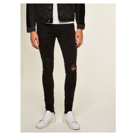 Mens Washed Black Extreme Rip Spray On Jeans, WASHED BLACK Topman