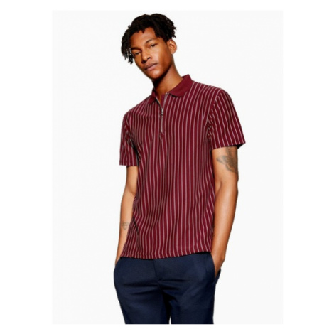 Mens Red Burgundy Pinstripe Polo, Red Topman