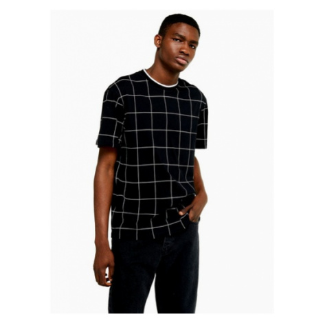 Mens Black Windowpane Check T-Shirt, Black Topman