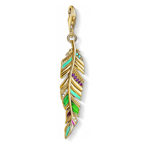 Ladies Thomas Sabo Gold Plated Sterling Silver Charm Club Ethnic Feather Charm
