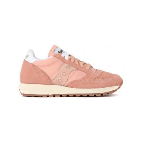 Saucony Jazz Vintage peach pink fabric and suede sneaker women's in Pink