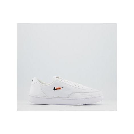Nike Court Vintage Trainers WHITE BLACK TOTAL ORANGE