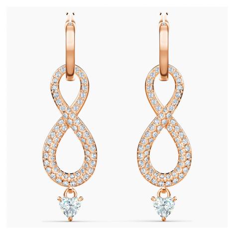 Swarovski Infinity Pierced Earrings, White, Rose-gold tone plated