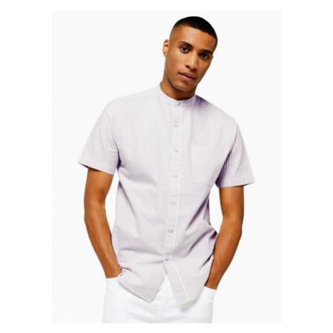 Mens Brown Pinstripe Stretch Skinny Oxford Shirt, Brown Topman