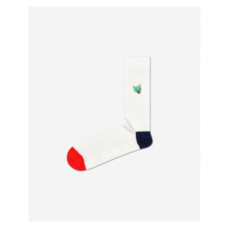 Happy Socks Ribb Embroidery Cat Socks White