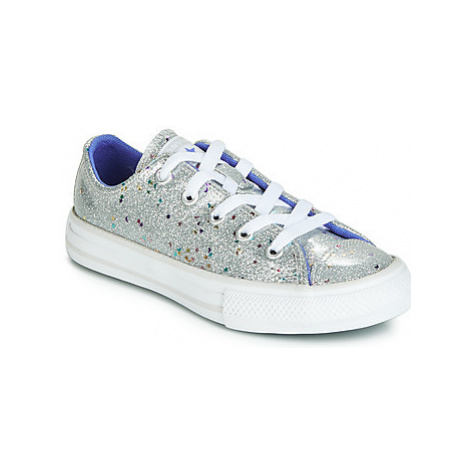 Converse CHUCK TAYLOR ALL STAR GALAXY GLIMMER OX girls's Children's Shoes (Trainers) in Silver