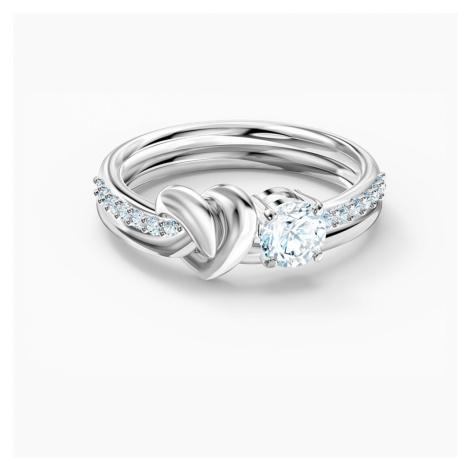 Lifelong Heart Ring, White, Rhodium plated Swarovski