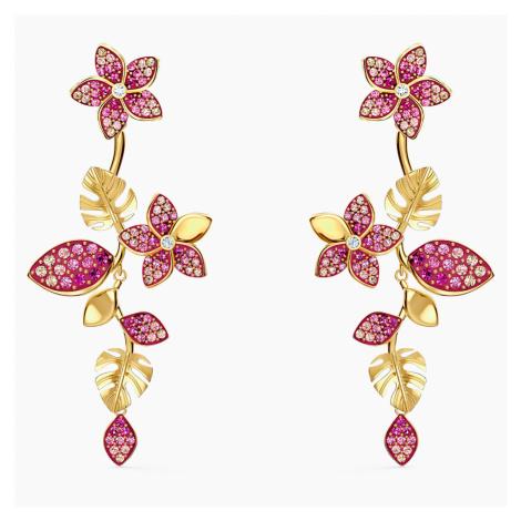 Tropical Flower Pierced Earrings, Pink, Gold-tone plated Swarovski