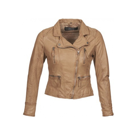 Brown women's leather and faux leather jackets