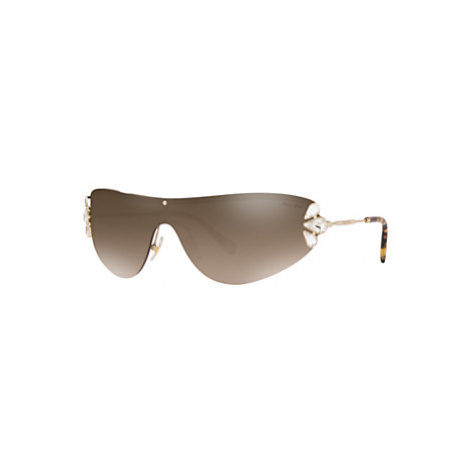 Miu Miu MU 66US Women's Crystal Embellished Sunglasses, Gold/Brown
