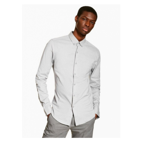Mens Grey Stretch Skinny Oxford Shirt, Grey Topman