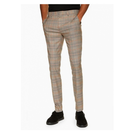 Mens Beige Stone Check Super Skinny Fit Suit Trousers, Beige Topman