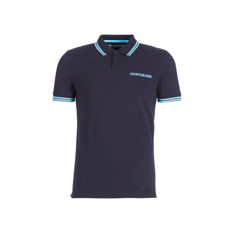 Calvin Klein Jeans SLIM TIPPING POLO --14 men's Polo shirt in Blue