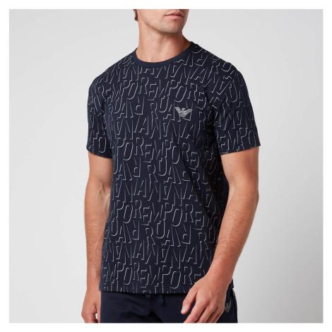 Emporio Armani Men's All Over Logo Terry Crew Neck T-Shirt - Blue Stamp