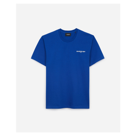 The Kooples - Blue cotton T-shirt with inverted logo - MEN