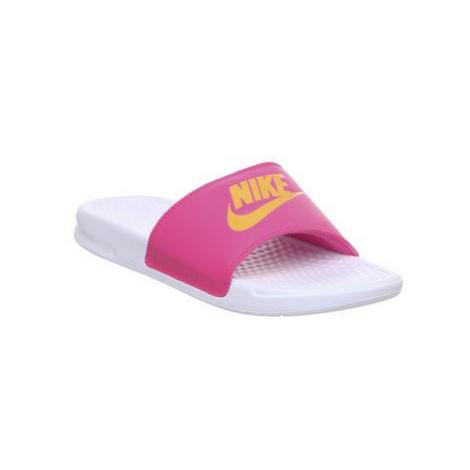Nike Wmns Benassi WHITE LASER ORANGE LASER FUSCHIA JDI F