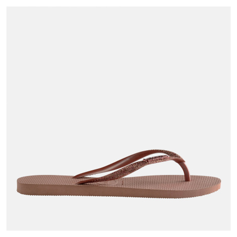 Havaianas Girls' Slim Glitter Flip Flops - Crocus Rose