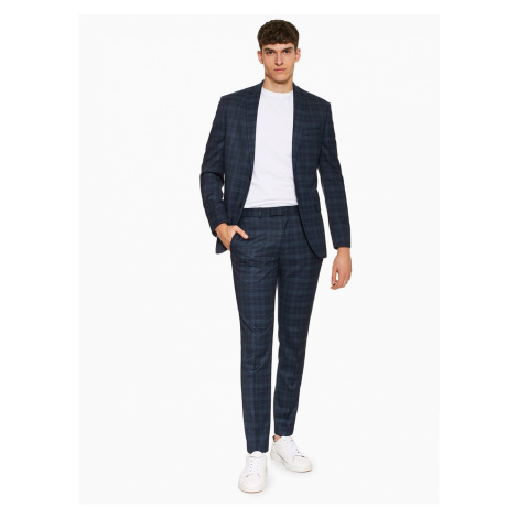 Mens Navy Skinny Fit Check Single Breasted Blazer With Notch Lapels, Navy Topman