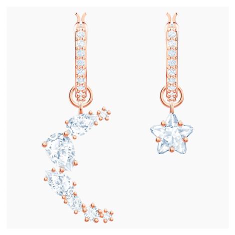 Penélope Cruz Moonsun Drop Pierced Earrings, White, Rose-gold tone plated Swarovski