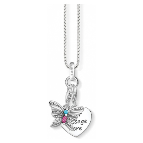 THOMAS SABO Engravable Silver Heart & Butterfly Charm Necklace