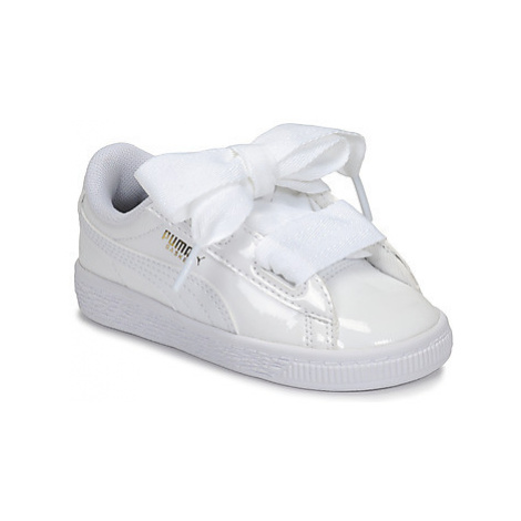 Puma INF BASKET HEART PATENT.WH girls's Children's Shoes (Trainers) in White