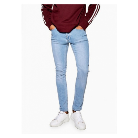 Mens Powder Blue Stretch Skinny Jeans, Blue Topman