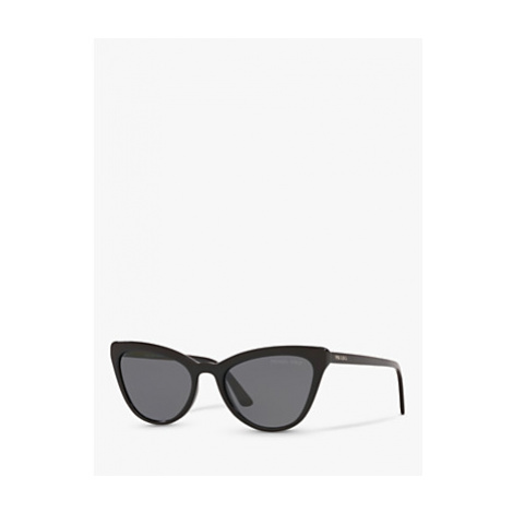 Prada PR 01VS Women's Polarised Cat's Eye Sunglasses, Black/Grey