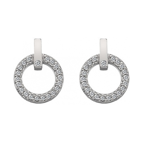 Hot Diamonds White Topaz and Diamond Circle Stud Earrings, Silver
