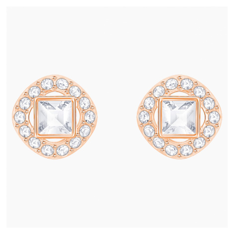 Angelic Square Pierced Earrings, White, Rose-gold tone plated Swarovski
