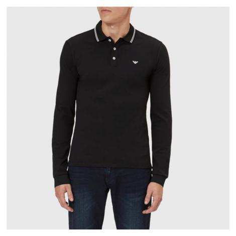 Emporio Armani Men's Long Sleeve Tipped Polo Shirt - Black - Black