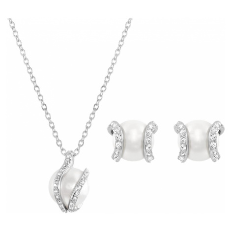 Nude Set, White, Rhodium plated Swarovski