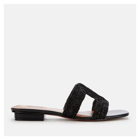 Dune Women's Loupe Raffia Flat Sandals - Black-Synthetic - UK