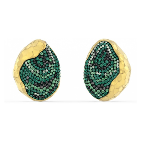 The Elements Clip Earrings, Green, Gold-tone plated Swarovski