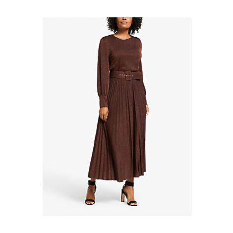 Marella Kibbutz Metallic Pleated Midi Dress, Brown