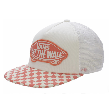 cap Vans Beach Girl Trucker - Spiced Coral Checkerboard