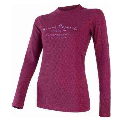 Sensor MERINO DF LABEL LILLIA red wine - Women's T-shirt