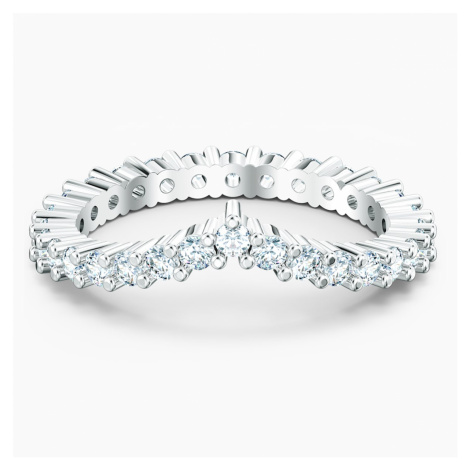 Vittore V Ring, White, Rhodium plated Swarovski