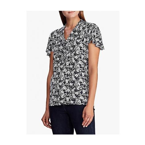 Lauren Ralph Lauren Tie Neck Floral Print Jersey Top, Lauren Navy/Pale Cream