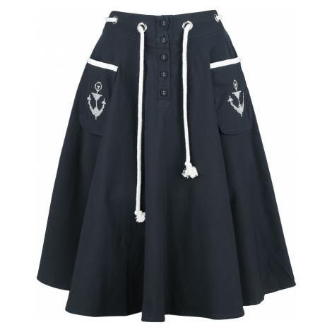 Voodoo Vixen Florence Anchor And Rope Flare Skirt Medium-length skirt dark blue